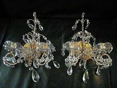 "Pair 2 Vintage Italian Gilt Tole Wall Sconces loaded with Crystal 15"" X 9 fine"