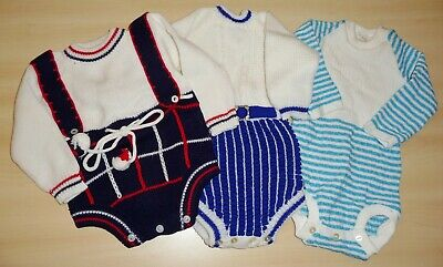 3 x AUTHENTIC VINTAGE 1970's UNWORN BABY ROMPERS 0-12 MONTHS - ASSORTED COLOURS