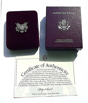 Cased U.S.A.1995 Walking Liberty mm P Fine Silver Proof One Dollar COA