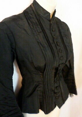 ANTIQUE Late 1800s VICTORIAN BLACK SATIN BODICE Bust 32