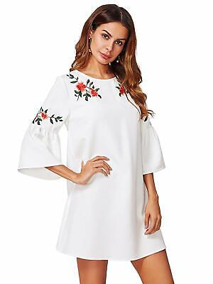 6e8c13954284 FLOERNS WOMEN'S BELL Sleeve Embroidered Tunic Dress - $30.99 | PicClick