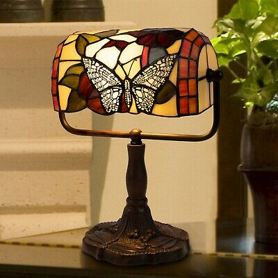 Tiffany Style Bankers Table Desk Lamp Stained Glass LED Bulb Lighted Artwork