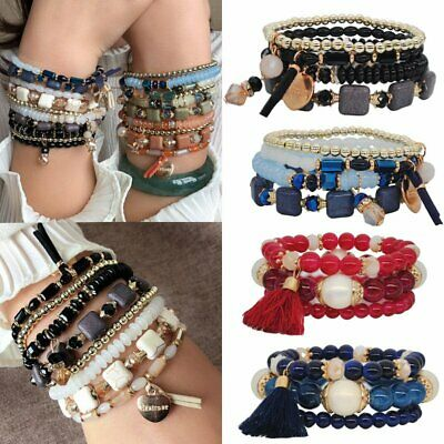 Multi-layer Vintage Bohemia Bracelets Set Crystal Beaded Beads Cuff Bangle Gift