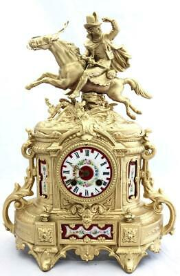 Antique Mantle Clock French 1880's Stunning Gilt & Red Sevres Figural Striking