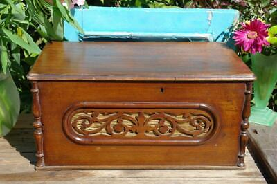 Antique Victorian Mahogany Sewing Box / Sorage Chest With Fret Work Rustic Chic