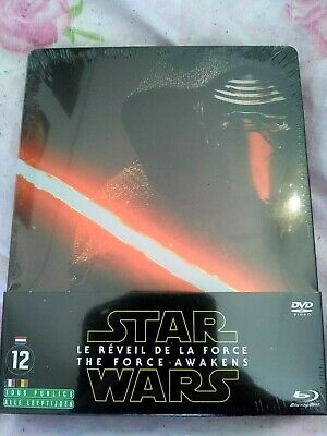 STAR WARS EPISODE VII Le Réveil de la Force STEELBOOK DVD + Blu-Ray sous cello!