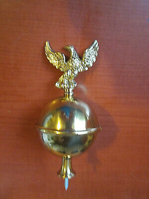 "Solid Brass Ball Eagle Spire Finial Grandfather Clock 5"" Tall (428A)"