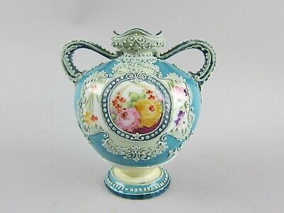 Unsigned Nippon Moriage Ware Two Handled Vase with Hand Painted Scene