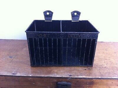 LOVELY  DECORATIVE 19th CENTURY PAINTED TOLEWARE LETTER RACK 8 by 5.5 inches