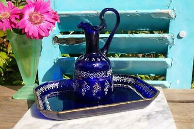 Antique Victorian Bristol Blue Glass Water Or Wine Jug With Tray H/Painted CHIC