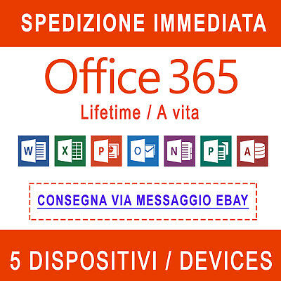Office 365 Windows Mac Tablet Official Multilanguage ITA 5TB One Drive