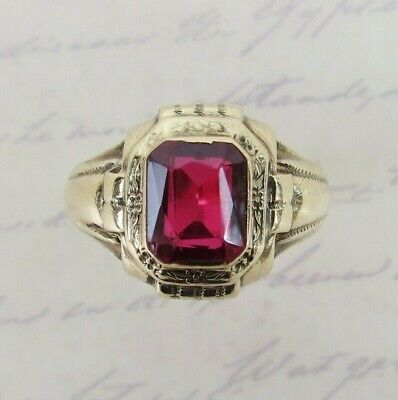 VTG Art Deco 10k  GOLD OSTBY & BARTON synthetic ruby ring size