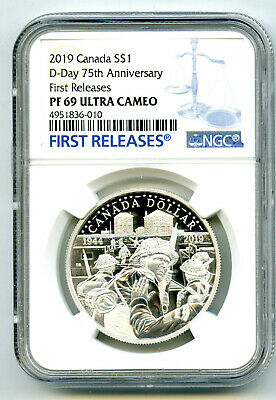 2019 $1 Canada Silver Dollar 75Th D-Day Ngc Pf69 Ucam Proof First Releases Blue