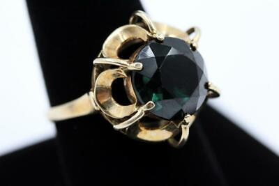 Huge Vintage Heavy 14K Yellow Gold Large Green Stone Size 9.5 Ring