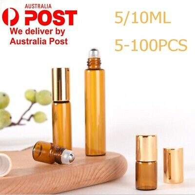 1-100 x 5ml/10ml Glass Bottles Amber Metal Roller Essential Oil Gold Refillable