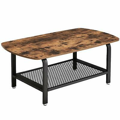 VASAGLE Industrial Coffee Table, TV Stand with Storage Mesh Shelf, Wooden Cockta