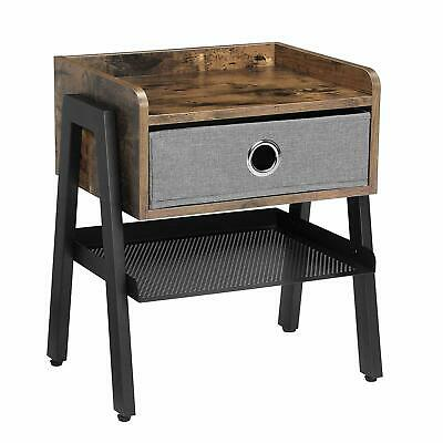 VASAGLE Industrial Nightstand, End Table with Metal Shelf, Side Table for Small