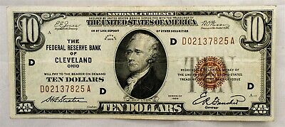 Series 1929 $10 FRBN Cleveland District - VF+ - FR 1860-D - Very Fine Plus