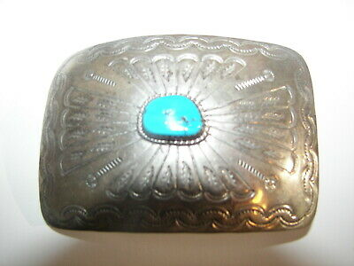 Vtg Native American Signed NAVAJO Thomas Sterling Turquoise Pawn  Belt Buckle