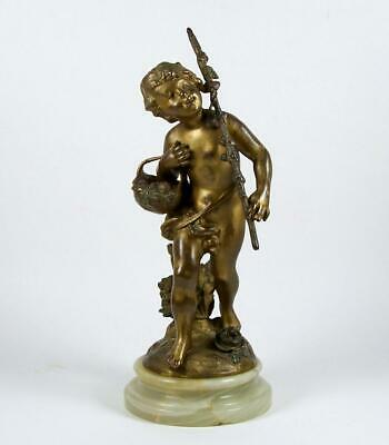 Vintage Metal Art Sculpture Putti w/ Basket Spelter Figure on Alabaster Base