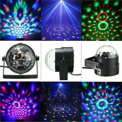 RGB LED Stage Light Crystal Ball Disco Xmas Club DJ Party W/ Remote Sound Active