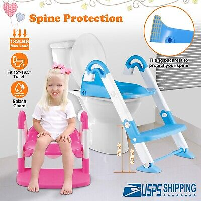 Kids Toddler Potty Training Toilet Seat Child Chair Toddler Ladder Step Up Stool