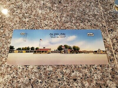 Route 66 Super Long Postcard Log Cabin Lodge Gallup New Mexico  Hwy 66