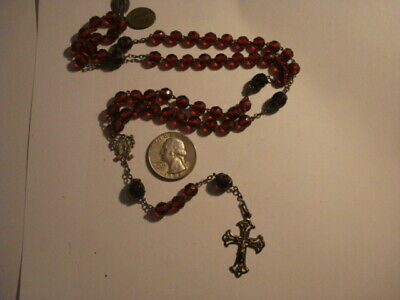 Antique Awesome Spanish Rosary Glass Beads & Sterling Silver 19 Century