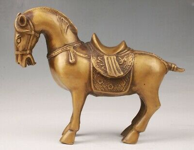 Rare Chinese Brass Hand Carving Horse Animal Statue Old Collection Decoration
