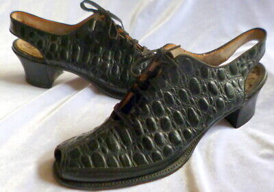 VINTAGE 1920s-1930s  BLACK CROCODILE PATTERN LEATHER Peep Toe SHOES Size 6