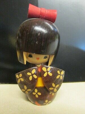 "VINTAGE KOKESHI DOLL JAPANESE STAMPED Approx 6"" TALL WOODEN CRAFTS HANDMADE"