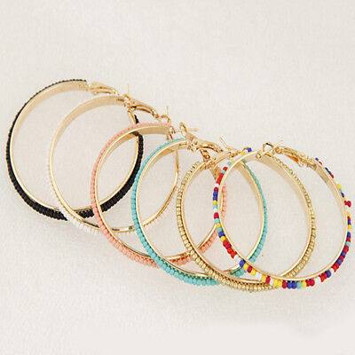 Women Big Circle Large Round Hoop Dangle Earrings Studs Jewelry Gifts HO3