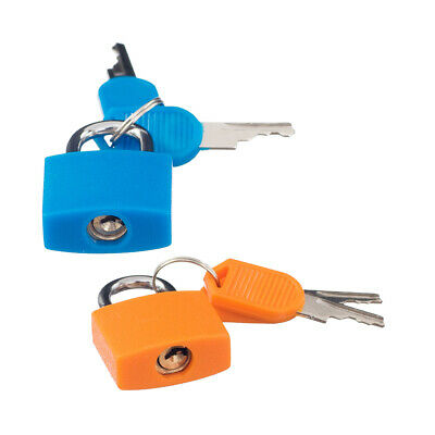 2 x Small Padlock with Four Keys for Luggage Suitcase Bag Orange & Deep Blue