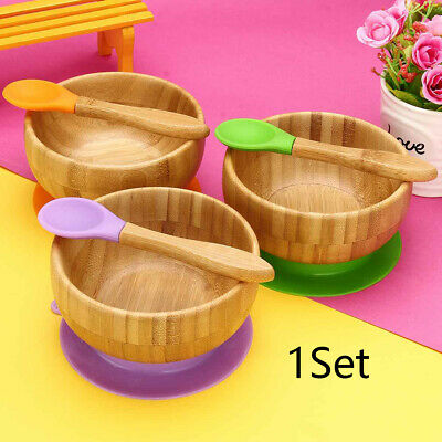 Natural Bamboo Toddler Suction Plate Bowl Spoon Plate Feeding Put Stay Baby Set