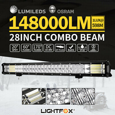 28INCH Philips LED Light Bar Flood Spot Combo Beam Offroad Driving Lamp 4x4 4WD