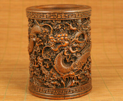 Big chinese old boxwood hand carved dragon tibet statue netsuke copt antique