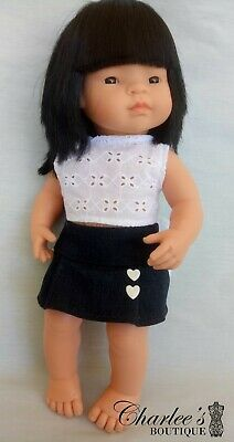 Miniland 38cm doll clothes denim skirt and white top (MADE IN PERTH)