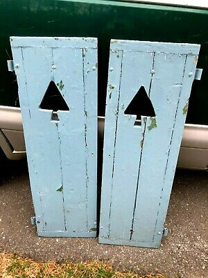Vintage Pair of Window Wood Shutters with Pine Tree Cut Outs