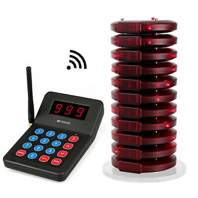 Retekess 999Channel Wireless Paging Queuing System:1xKeypad transmitter+10xpager