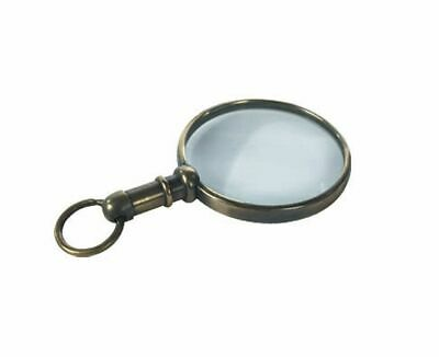 G451: Historical Miniature Magnifying Glass Maritime Chains Brass Patinated