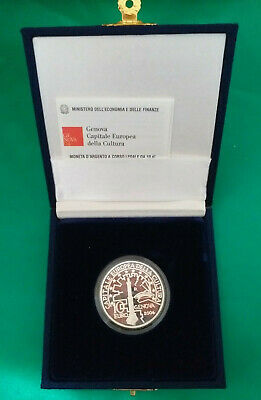 10 Euro Genova Capitale Europea Cultura 2004 Argento 0,925 Proof In Capsula