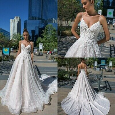 b2cb720b6f0 Spaghetti Straps Wedding Dresses Bridal Gowns V Neck A Line Size 4 6 8 10 12
