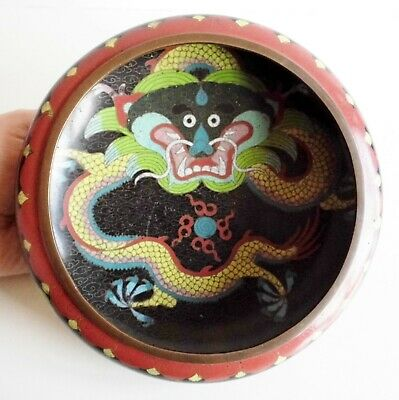 Rare Old Chinese Cloisonne Bowl - 5 Clawed Imperial Dragon - Character Marks