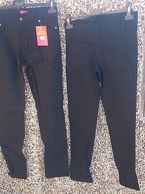 2 X Girls Black School Stretch Trousers Jeans Miss Skinny Size 8 Age 14 5 Pocket