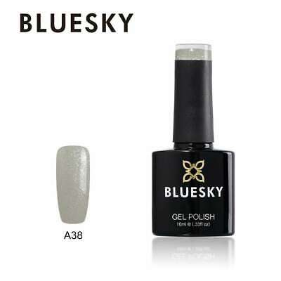 Bluesky A38 White Glitter UV/LED Soak Off Nail Gel Polish 10ml Free P&P