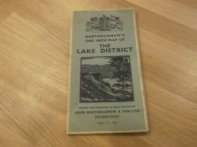 Lovely Vintage Bartholomew's One Inch Map Of The Lake District