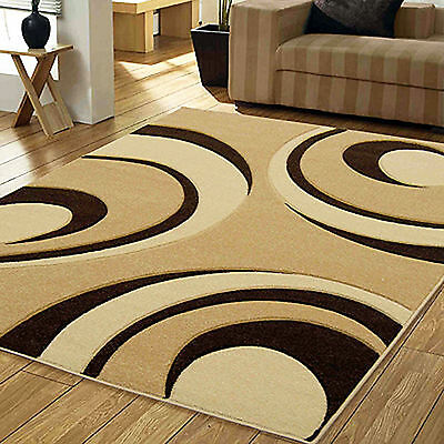 Small Large 12Mm Thick Beige Brown Carved Quality Geometric Arc Soft Modern Rugs