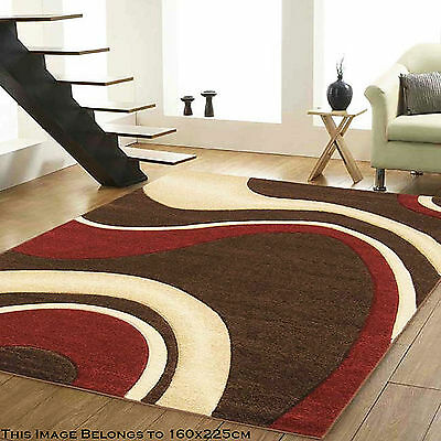 High Quality Brown Red Colour Wave Milano 12Mm Thick Small Large Modern Rugs