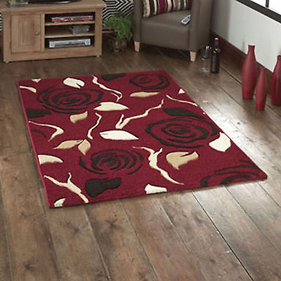 Quality Red Brown Rosina Rose 12Mm Thick Carved Modern Quality Small Large Rugs