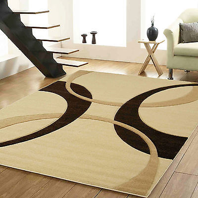 Quality Beige Brown Colour Small X Large 12mm Thick Soft Hand Carved Modern Rugs